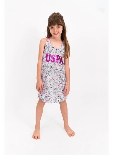 U.S. Polo Assn. Lisanslı Lacivert Kız Çocuk Elbise Gri